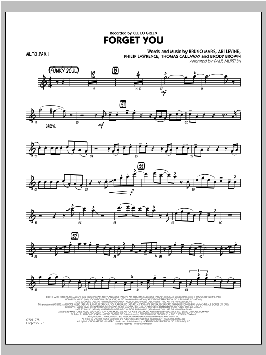 Forget You - Alto Sax 1 Sheet Music