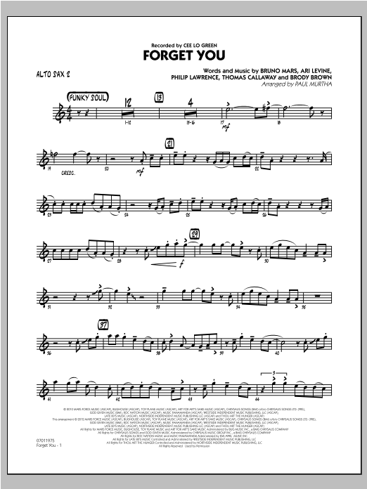 Forget You - Alto Sax 2 Sheet Music