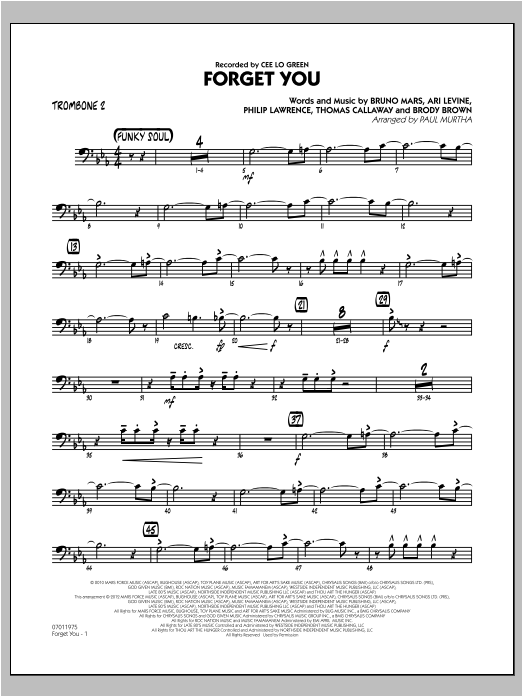 Forget You - Trombone 2 Sheet Music