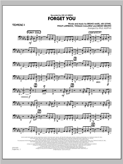 Forget You - Trombone 4 Sheet Music