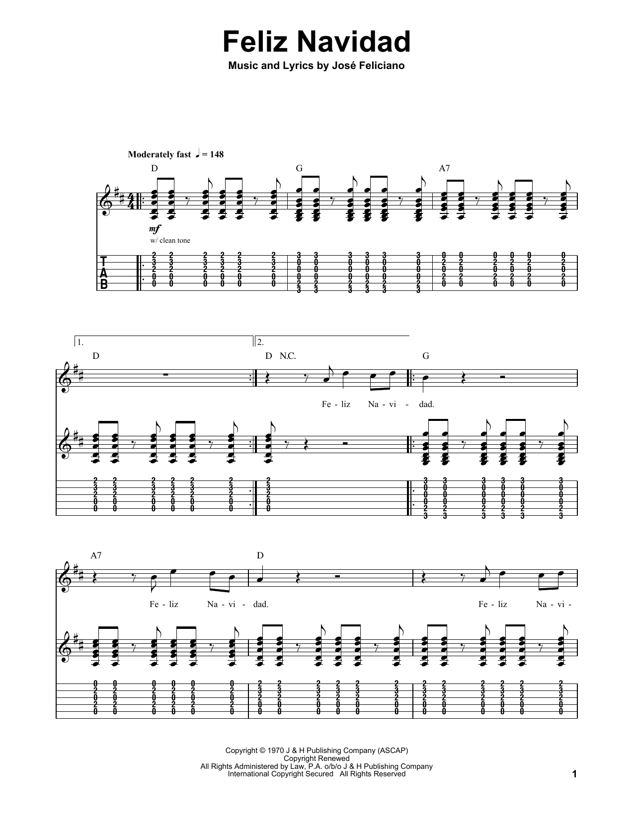 Feliz Navidad Sheet Music By Jose Feliciano Guitar Tab Play Along