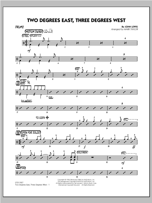 Two Degrees East, Three Degrees West - Drums Sheet Music
