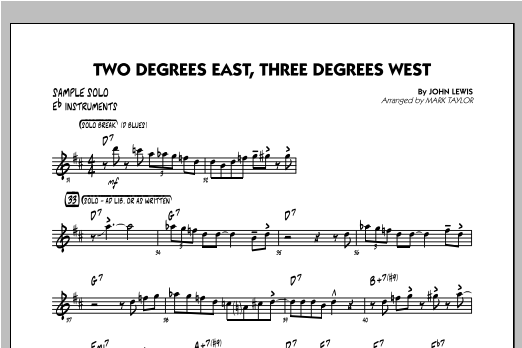 Two Degrees East, Three Degrees West - Sample Solo - Eb Instruments Sheet Music