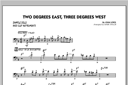 Two Degrees East, Three Degrees West - Sample Solo - Bass Clef Instr. Sheet Music