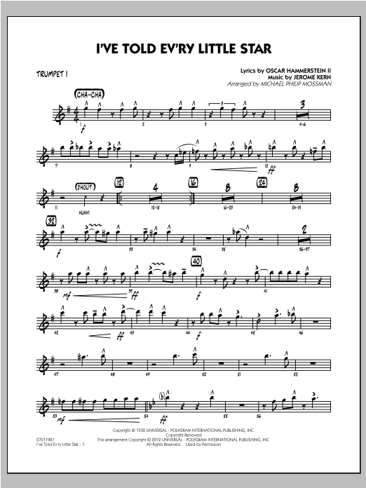 I've Told Ev'ry Little Star - Trumpet 1 Sheet Music