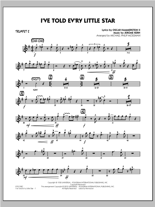 I've Told Ev'ry Little Star - Trumpet 2 Sheet Music