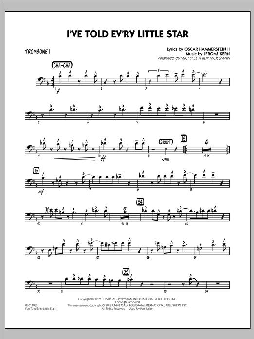 I've Told Ev'ry Little Star - Trombone 1 Sheet Music