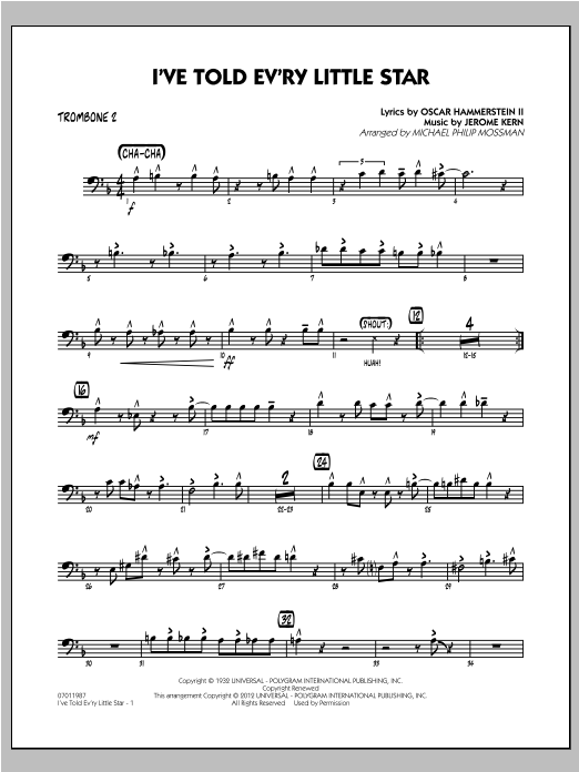 I've Told Ev'ry Little Star - Trombone 2 Sheet Music