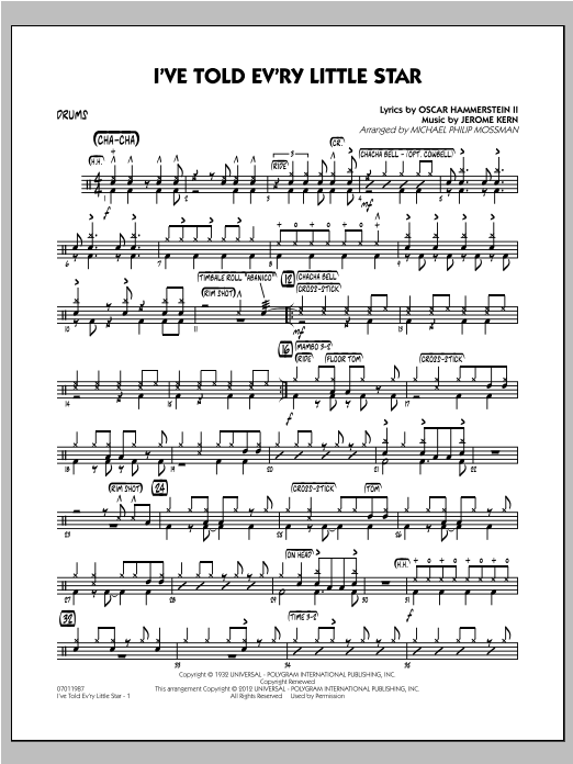 I've Told Ev'ry Little Star - Drums Sheet Music