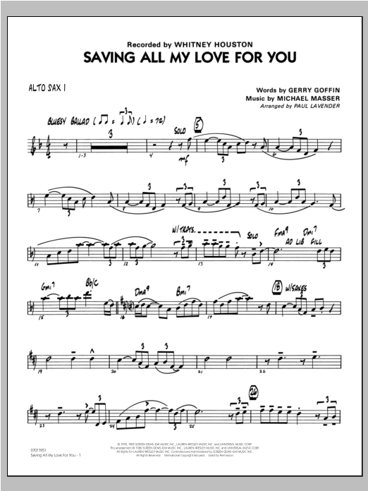 Saving All My Love For You - Alto Sax 1 Sheet Music