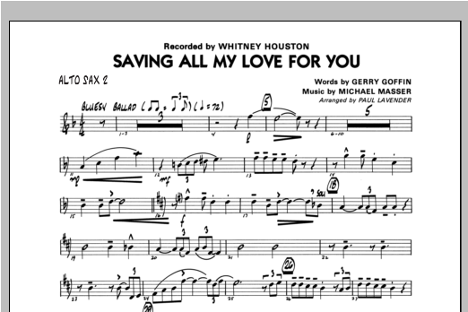 Saving All My Love For You - Alto Sax 2 Sheet Music