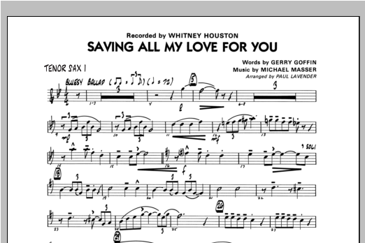 Saving All My Love For You - Tenor Sax 1 Sheet Music