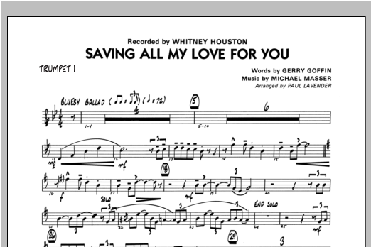 Saving All My Love For You - Trumpet 1 Sheet Music