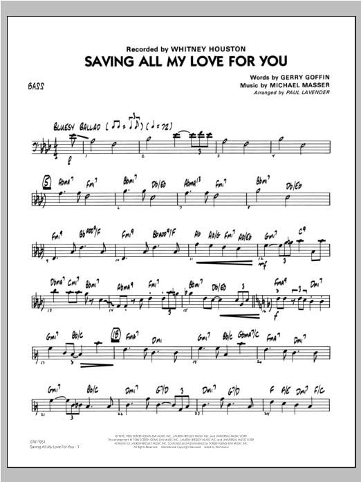 Saving All My Love For You - Bass Sheet Music