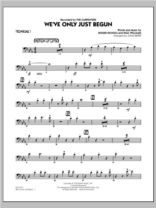 We've Only Just Begun - Trombone 1 Sheet Music
