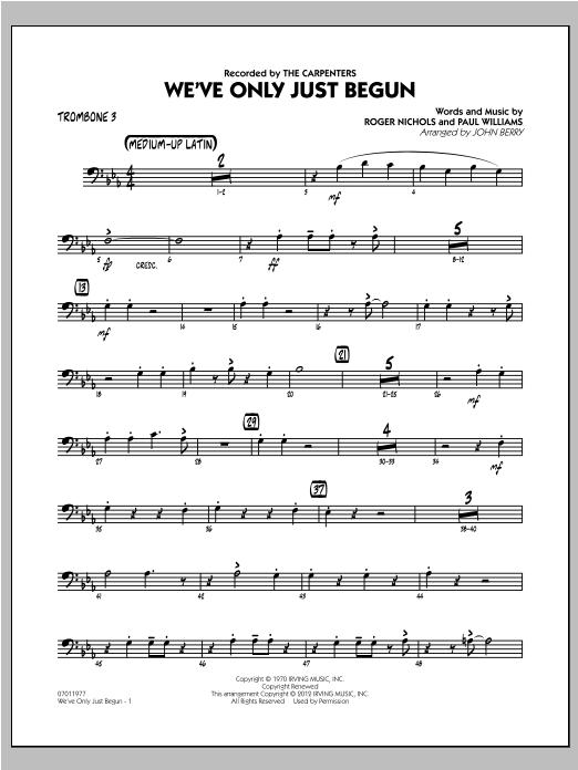 We've Only Just Begun - Trombone 3 Sheet Music