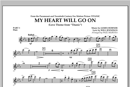 My Heart Will Go On (Love Theme from Titanic) - Pt.1 - Flute Sheet Music
