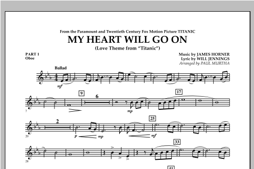 My Heart Will Go On (Love Theme from Titanic) - Pt.1 - Oboe Sheet Music