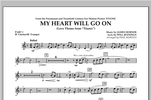 My Heart Will Go On (Love Theme from Titanic) - Pt.1 - Bb Clarinet/Bb Trumpet Sheet Music