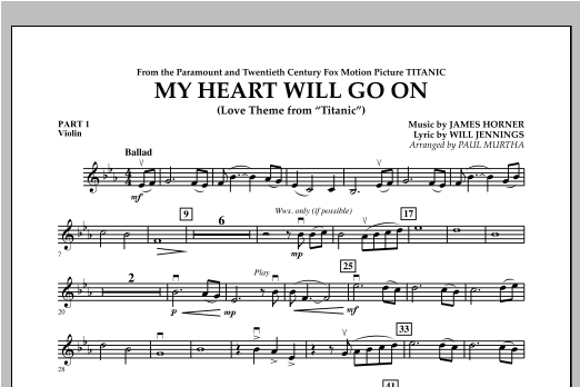 My Heart Will Go On (Love Theme from Titanic) - Pt.1 - Violin Sheet Music