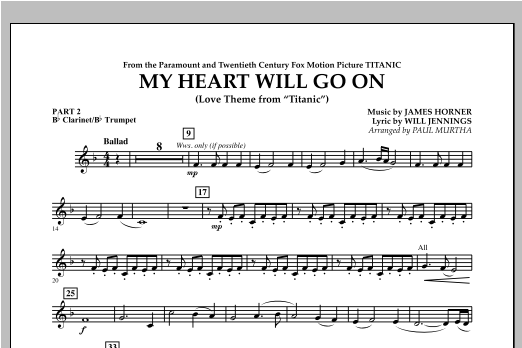 My Heart Will Go On (Love Theme from Titanic) - Pt.2 - Bb Clarinet/Bb Trumpet Sheet Music