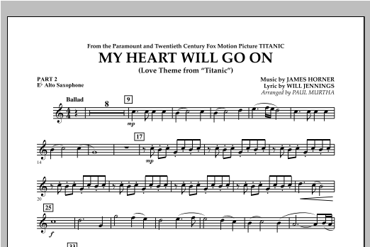 My Heart Will Go On (Love Theme from Titanic) - Pt.2 - Eb Alto Saxophone Sheet Music