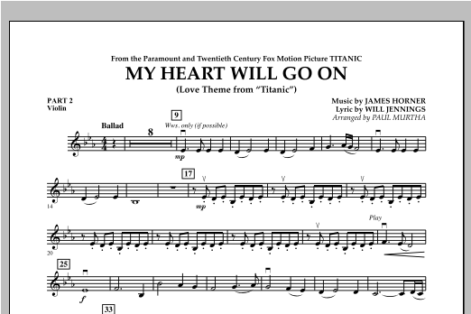 My Heart Will Go On (Love Theme from Titanic) - Pt.2 - Violin Sheet Music