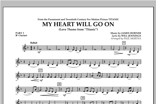 My Heart Will Go On (Love Theme from Titanic) - Pt.3 - Bb Clarinet Sheet Music