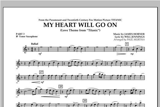 My Heart Will Go On (from Titanic) - Pt.3 - Bb Tenor Saxophone Sheet Music