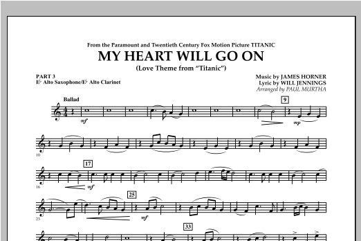 My Heart Will Go On (Love Theme from Titanic) - Pt.3 - Eb Alto Sax/Alto Clar. Sheet Music