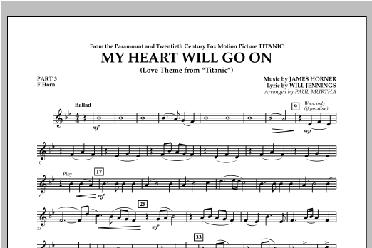 My Heart Will Go On (Love Theme from Titanic) - Pt.3 - F Horn Sheet Music