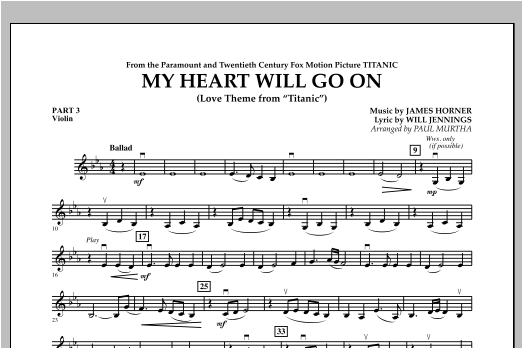 My Heart Will Go On (Love Theme from Titanic) - Pt.3 - Violin Sheet Music