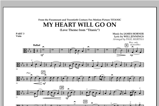 My Heart Will Go On (Love Theme from Titanic) - Pt.3 - Viola Sheet Music