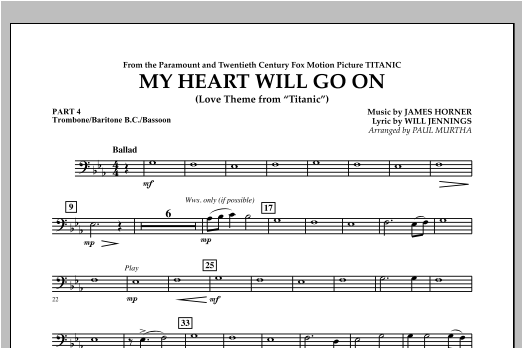 My Heart Will Go On (Love Theme from Titanic) - Pt.4 - Trombone/Bar. B.C./Bsn. Sheet Music
