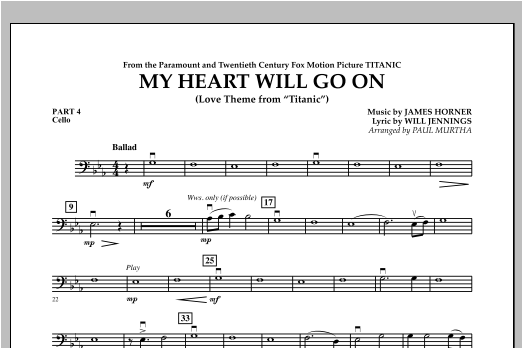 My Heart Will Go On (Love Theme from Titanic) - Pt.4 - Cello Sheet Music