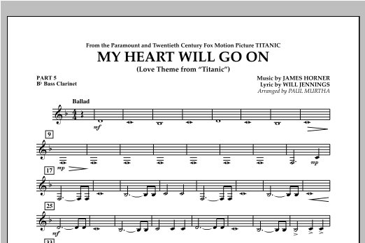 My Heart Will Go On (Love Theme from Titanic) - Pt.5 - Bb Bass Clarinet Sheet Music