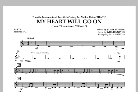 My Heart Will Go On (Love Theme from Titanic) - Pt.5 - Baritone T.C. Sheet Music