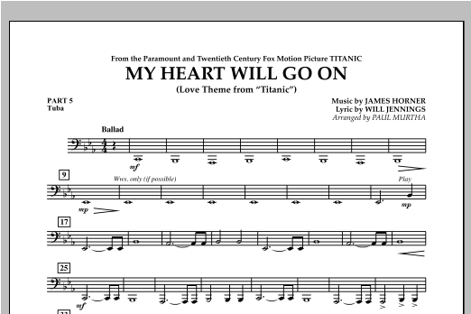 My Heart Will Go On (Love Theme from Titanic) - Pt.5 - Tuba Sheet Music