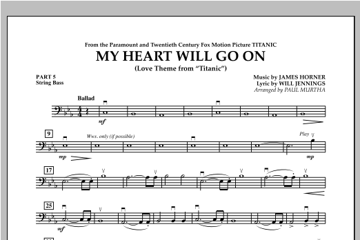 My Heart Will Go On (Love Theme from Titanic) - Pt.5 - String/Electric Bass Sheet Music