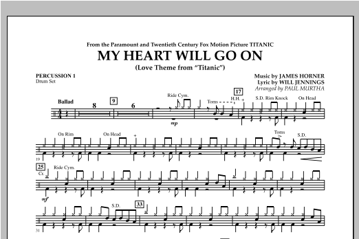 My Heart Will Go On (Love Theme from Titanic) - Percussion 1 Sheet Music