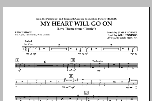 My Heart Will Go On (Love Theme from Titanic) - Percussion 2 Sheet Music