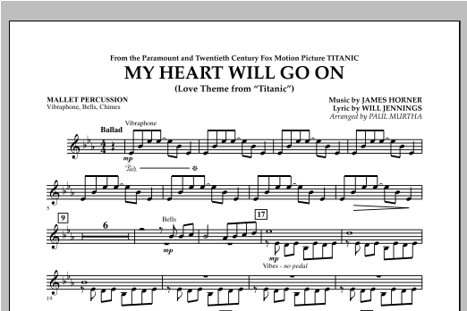 My Heart Will Go On (Love Theme from Titanic) - Mallet Percussion Sheet Music