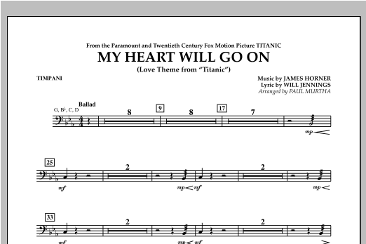 My Heart Will Go On (Love Theme from Titanic) - Timpani Sheet Music