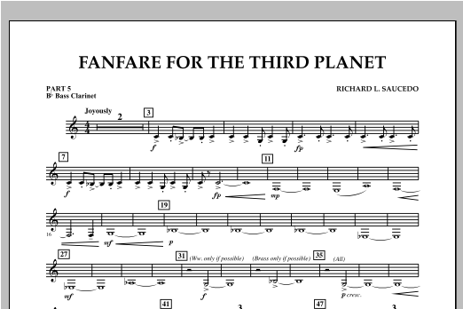 Fanfare For The Third Planet - Pt.5 - Bb Bass Clarinet Sheet Music