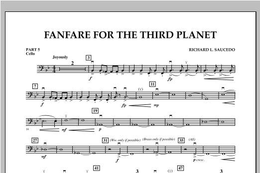 Fanfare For The Third Planet - Pt.5 - Cello Sheet Music