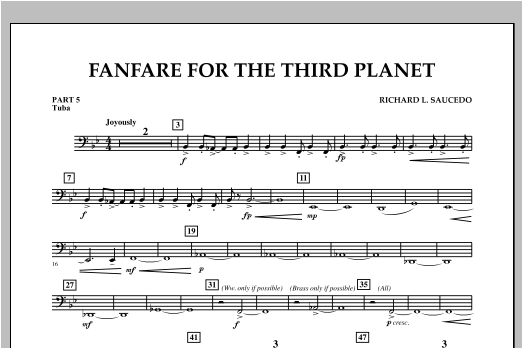Fanfare For The Third Planet - Pt.5 - Tuba Sheet Music