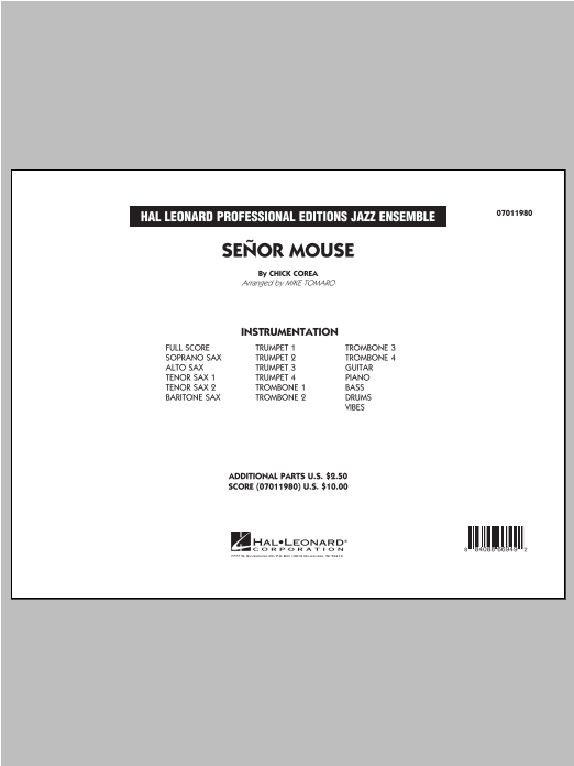 Senor Mouse (COMPLETE) sheet music for jazz band ( Ensemble) by Mike Tomaro and Chick Corea. Score Image Preview.