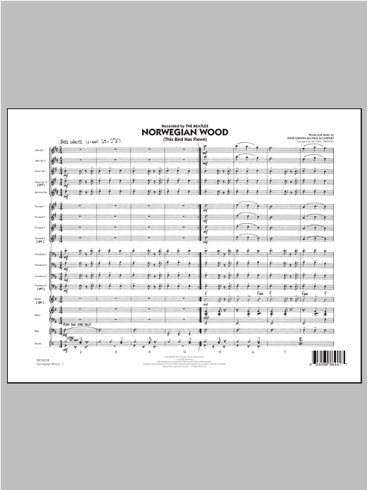 Norwegian Wood (This Bird Has Flown) (COMPLETE) sheet music for jazz band ( Ensemble) by Michael Sweeney, John Lennon, Paul McCartney and The Beatles. Score Image Preview.