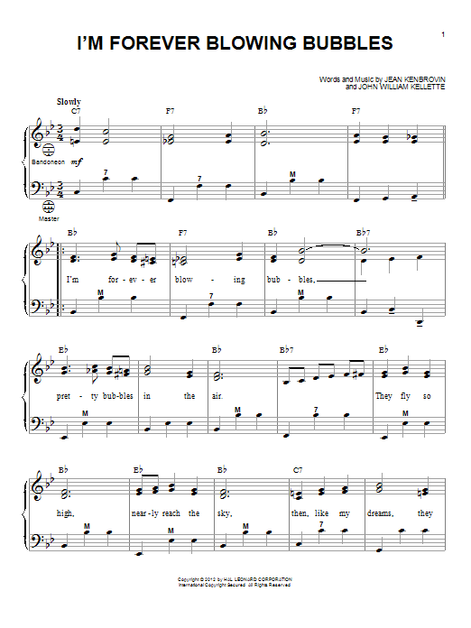 I'm Forever Blowing Bubbles Sheet Music