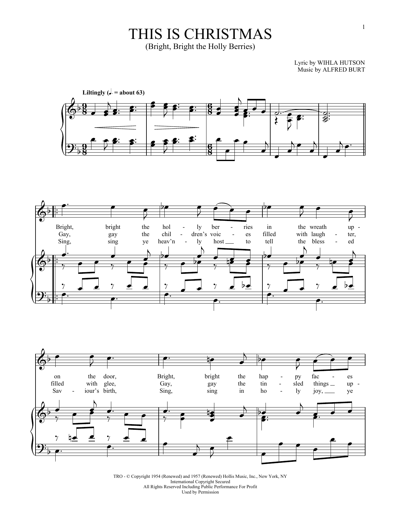 This Is Christmas (Bright, Bright The Holly Berries) (Piano & Vocal)